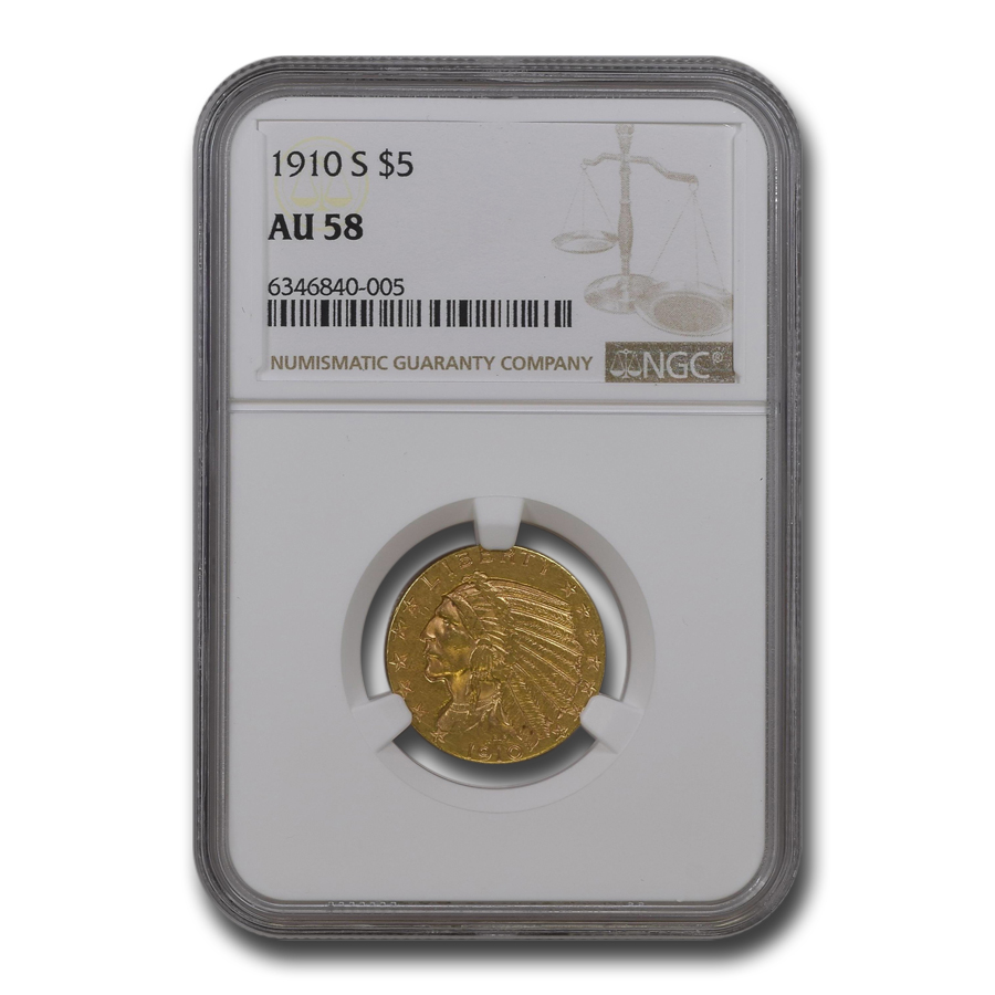 1910-S $5 Indian Gold Half Eagle - AU-58 NGC